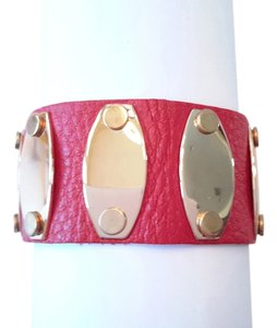 78% off NEW Leather Bracelet with Gold Plates