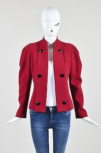 Carolina Herrera Carolina Herrera Red Wool Button Embellished Long Sleeve Blazer Jacket