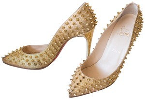 108e4120205c Christian Louboutin Gold Pigalle 100 Spiked Eu 39.5 Pumps Size US 9 ...