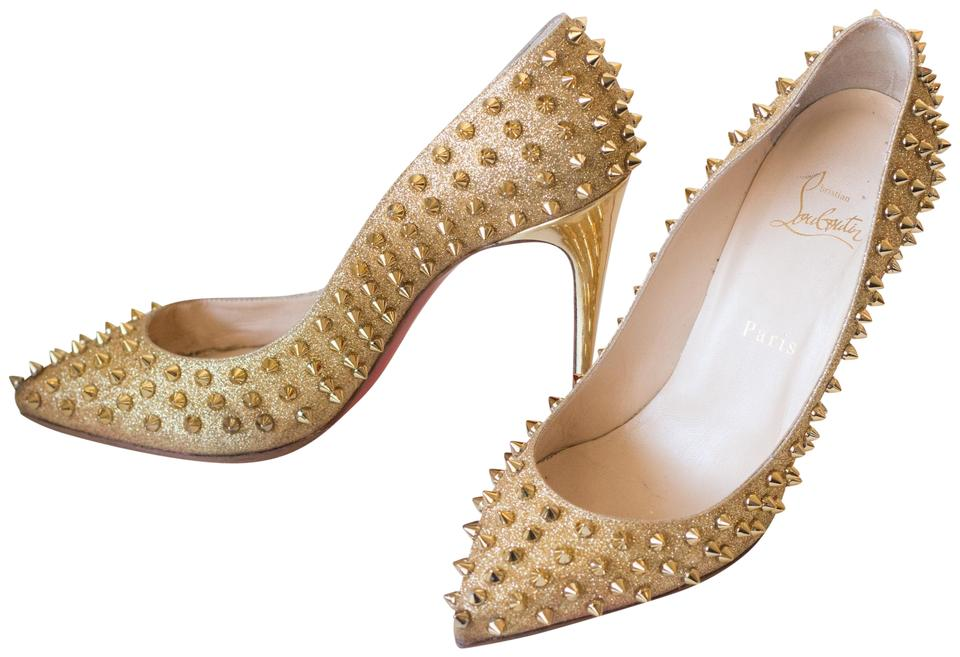 bb3c55fd3ffc Christian Louboutin Gold Pigalle 100 Spiked Eu 39.5 Pumps Size US 9 ...