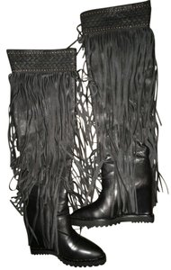 Ivy Kirzhner Leather Fringe Black Boots
