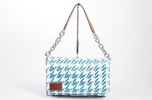 Dolce&Gabbana White Houndstooth Raffia Miss Escape Chain Shoulder Bag