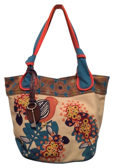 Item - Studded Floral Bird Key Blue Orange Cream Shoulder Bag