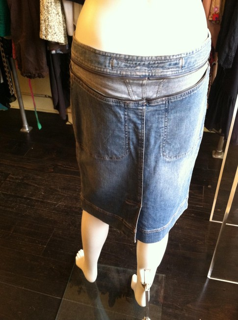Marc Jacobs Denim Pencil Zipper Pockets Skirt Blue Denim