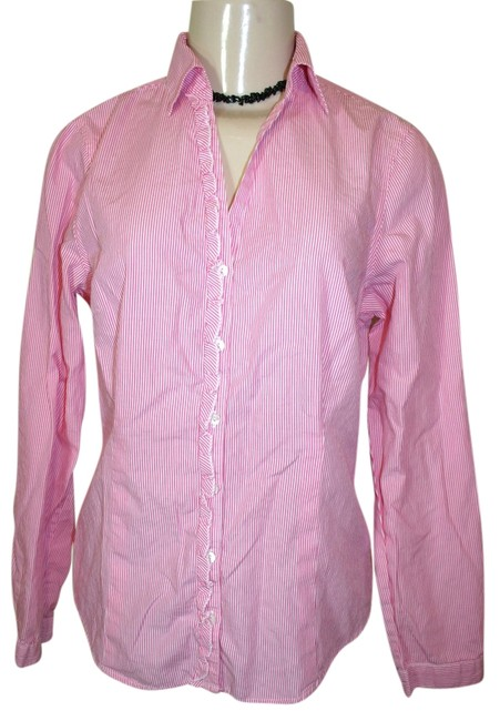 L.L.Bean Striped Button Down Shirt Pink