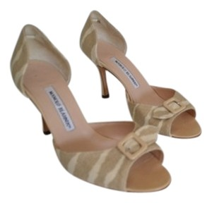 Manolo Blahnik Beige, Off White Zebra Prints Sandals