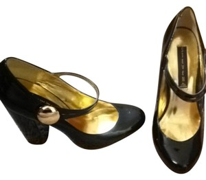 Steve Madden Patent Leather Thick Heel Mary Jane Lolita Black Patent Pumps