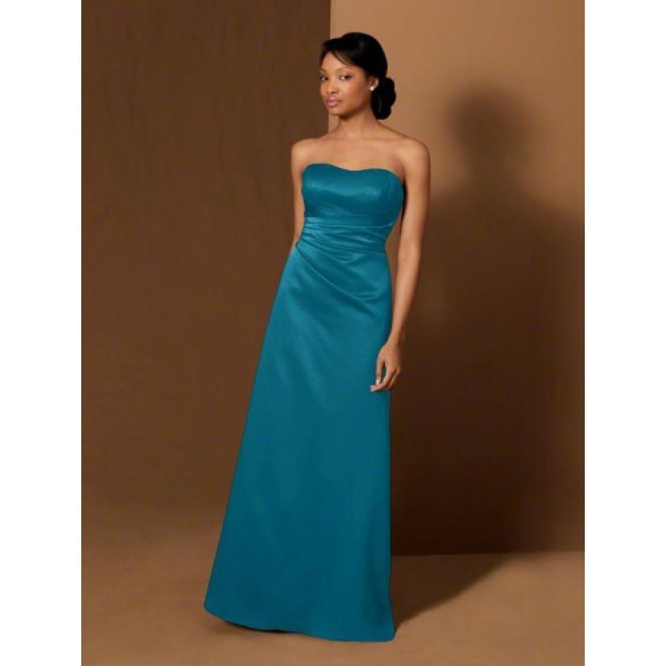 Alfred Angelo Tealness Satin Formal Bridesmaid/Mob Dress Size 8 (M ...