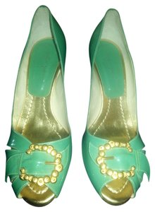 Sergio Zelcer green with gold metal buckles Pumps
