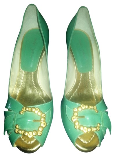 Sergio Zelcer Christmas Party Festive Leather green with gold metal buckles Pumps