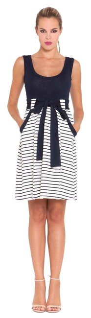Item - Navy & White Gena Striped Baby Doll Low Tank Style Low Scoop Neck Maternity Dress Size 4 (S, 27)