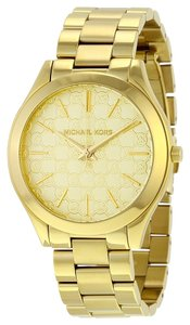 Michael Kors MK Logo Chain Print Dial Gold Tone Ladies Classic Watch