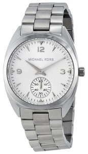 Michael Kors Silver Tone Stainless Steel Creystal Accent Designer Watch