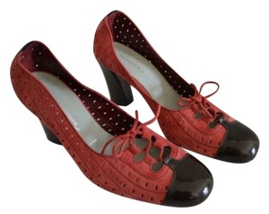 Sigerson Morrison Red Suede & Brown Patent Leather Pumps