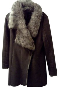 Zara Faux Leather Faux Fur Fur Coat
