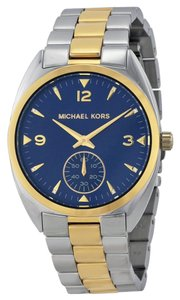 Michael Kors Two Tone Silver and Gold Blue Dial Stainless Steel Watch