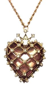 Betsey Johnson Betsey Johnson Goldtone Heart Necklace with Pink Stone in gift box