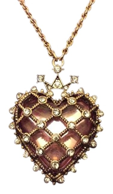 Item - Goldtone with Pink Stone Box Heart In Gift Necklace
