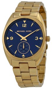 Michael Kors Blue Dial Gold Tone Stainless Steel Designer Watch