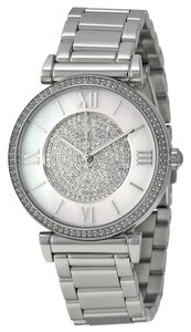 Michael Kors Silver Tone Crystal Pave Dial Ladies Luxury Watch