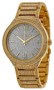Michael Kors Gold Tone Crystal Pave Encrusted Luxury Ladies Dress Watch