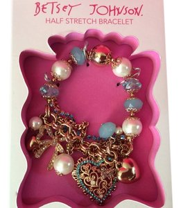 Betsey Johnson Betsey Johnson Half Stretch Bracelet with Heart, bow and beads