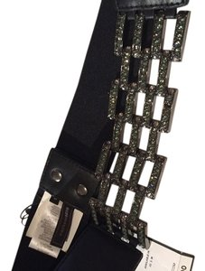 BCBGMAXAZRIA Black BCBG and Rhinestone Waist Belt in Medium