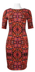 London Times Medallion Print 3/4 Sleeve Sheath Scuba Dress