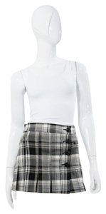 Guess Plaid Pleated Preppy School Mini Skirt White and Black
