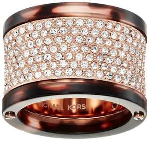 Michael Kors Michael Kors MKJ4743791 Barrel Crystal Tortoise Rose Gold Ring SZ 6
