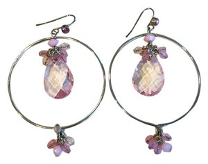 Pretty Pink Crystal, Silvertone Hanging Earrings