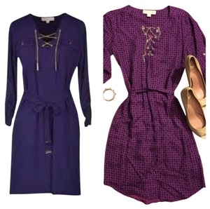 Michael Kors Chain Silver Purple Tie Dress