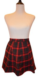 Ecote Urban Outfitters Mini Skirt Plaid Black and Red