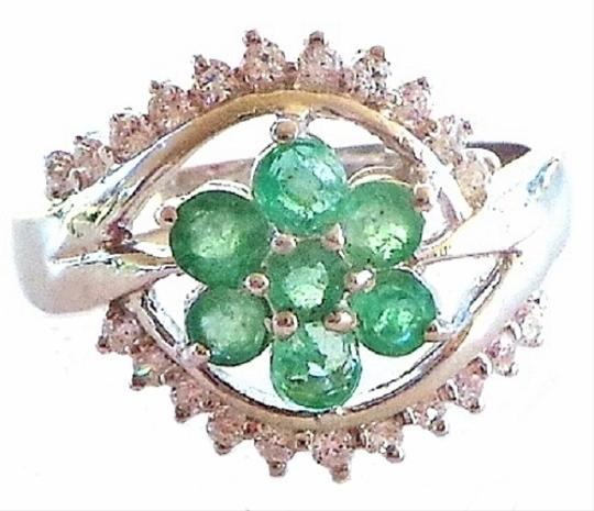 Other NATURAL AAA GREEN EMERALD COLUMBIAN & WHITE CZ 925 STERLING SILVER RING 9