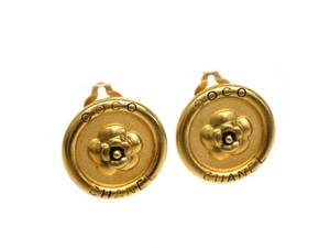 Chanel Auth CHANEL Camellia Clip Earrings Metal Gold (BF078847)