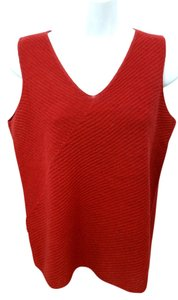 Eileen Fisher Red Knit Wool Petite Top DARK RED