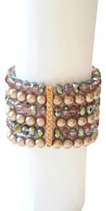 Cezanne NEW Pearl and Iridescent Crystal Bronze Bracelet