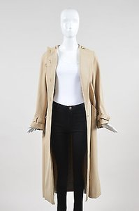 Valentino Vintage Boutique Tan Wool Hooded Long Overcoat Coat
