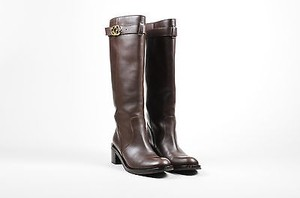 Gucci Leather Buckle Brown Boots