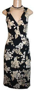 BCBGMAXAZRIA short dress black, beige Bamboo Print Sleeveless on Tradesy