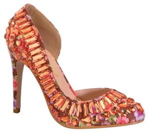 Chase & Chloe Gem Embellished Gemstones D'orsay Orange Flower Peach Floral Pumps