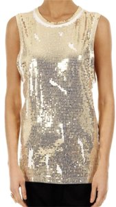 Balmain Sequin Gold Top White Gold