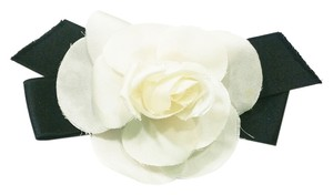 Chanel Authentic Vintage Chanel Signature Silk White Camellia Flower with Black Ribbon Brooch