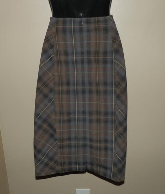 Katherine Barclay Pencil Lined Plaid Skirt Brown, black and grey