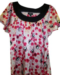 AGB Xl Short Sleeve Polka Dots Top Pink