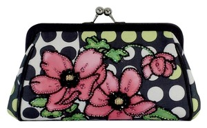 Isabella Fiore Polka Dot Beaded Floral Clutch