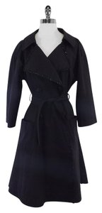 Fendi Black Cotton Blend Trench Trench Coat