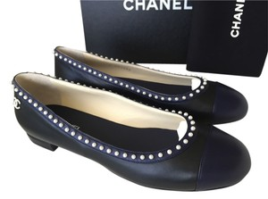 Chanel Ballet Blue Navy Pearls Black Leather BLACK/NAVY Flats