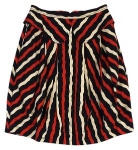 Marc Jacobs Red Black Cream Striped Skirt