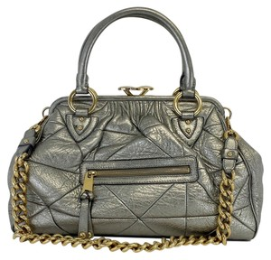 Marc Jacobs Metallic Silver Leather Shoulder Bag